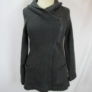 La Temps Charcoal Asymmetrical Zip Hooded Sweater